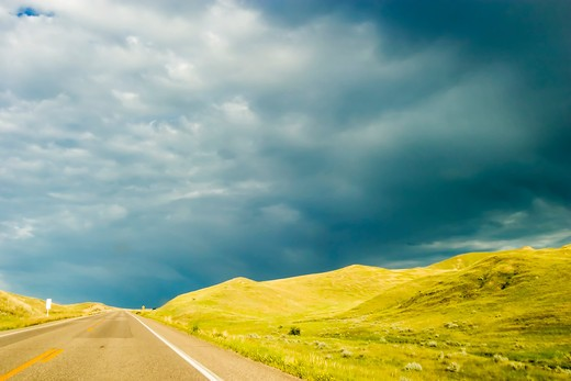 Highway on the Prairie : Stock Photo