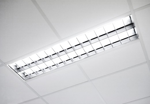 A fluorescent light set in the roof : Stock Photo