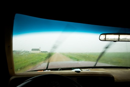 Stock Photo: 4148R-1675 An abstract of a truck driving in rain