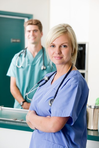 Stock Photo: 4148R-1682 A portrait of a vet and assistant in a small animal clinic