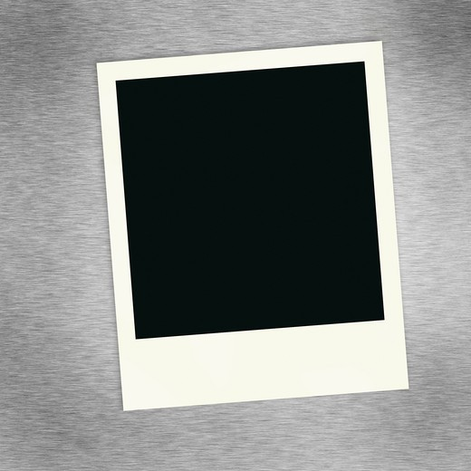 A single blank image on a brush aluminum background. : Stock Photo
