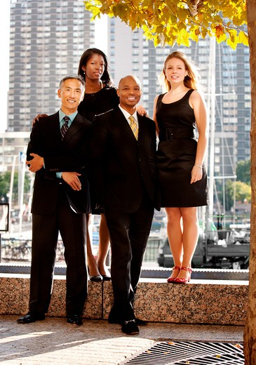 A business team portrait in an outdoor setting : Stock Photo