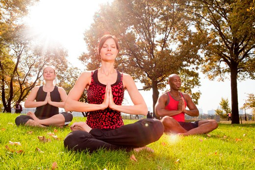 Stock Photo: 4148R-2637 A group of people meditation in the park - taken into the sun with lens flare
