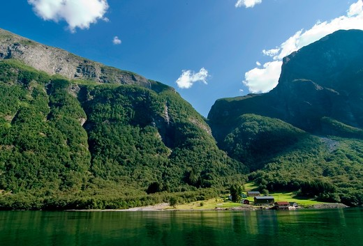 Stock Photo: 4148R-2718 Sognefjord near Gudvangen in the western area of Norway.