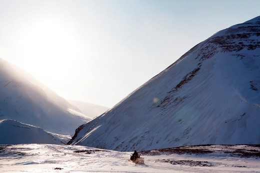 Stock Photo: 4148R-2752 A dramatic mountain landscape in winter  - Spitsbergen, Svalbard, Norway
