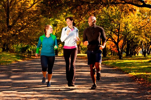 Three people jogging in the park on a beautiful fall day : Stock Photo