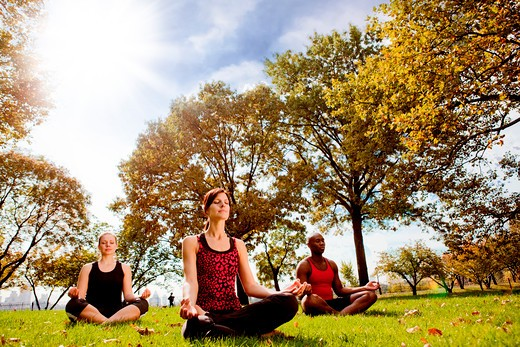 A group of people doing yoga in a city park : Stock Photo