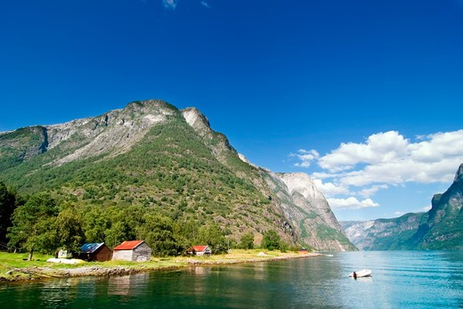 Mountain farm in the Sognefjord, Norway. : Stock Photo