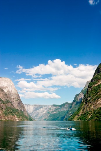 Stock Photo: 4148R-3093 Sognefjord near Gudvangen in the western area of Norway.