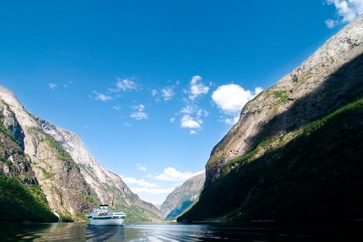 Stock Photo: 4148R-3136 Sognefjord near Gudvangen in the western area of Norway.
