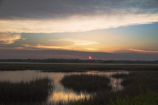 USA, Florida, Big Talbot Island, Salt marsh at sunset : Stock Photo