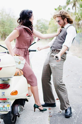 Couple fighting on a road : Stock Photo