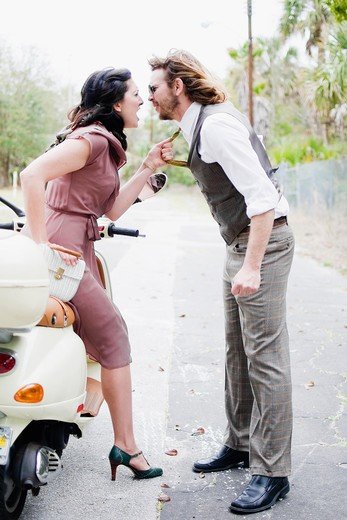 Stock Photo: 4152-164 Couple fighting on a road
