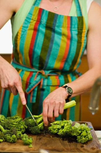 Mid section view of a woman cutting broccoli : Stock Photo
