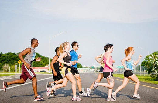 Athletes participating in a marathon race : Stock Photo