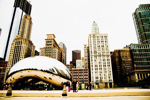 Stock Photo: 4152-224 Sculptures in front of buildings in a city, Cloud Gate, Millennium Park, Chicago, Illinois, USA
