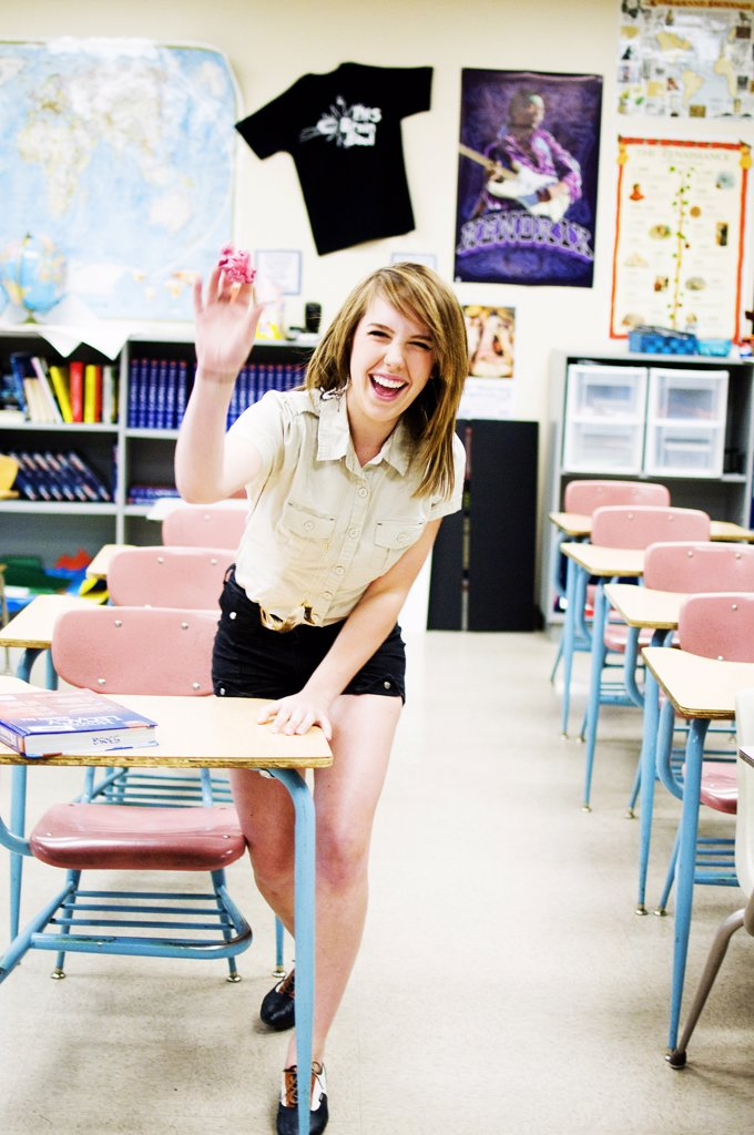 Stock Photo: 4152-315 Excited High School Girl waving