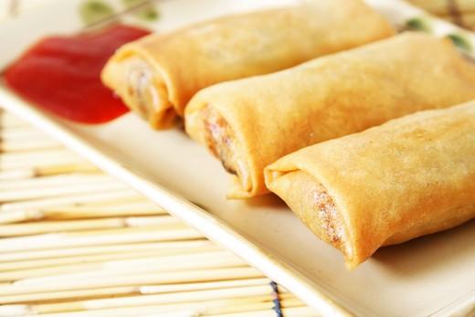 Close up of crispy egg rolls : Stock Photo