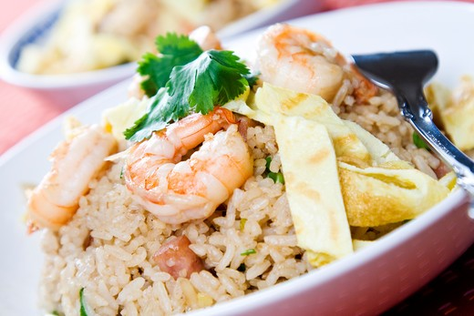 A plate of delicious shrimp fried rice : Stock Photo