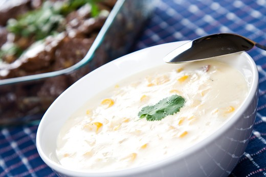 Stock Photo: 4157R-5526 A shot of creamy corn soup in a banquet