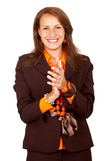 Stock Photo: 4158R-10079 business woman clapping isolated over a white background
