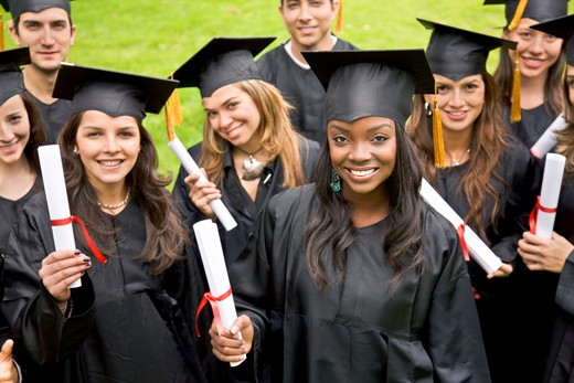 Stock Photo: 4158R-187 group of graduation students looking happy outdoors