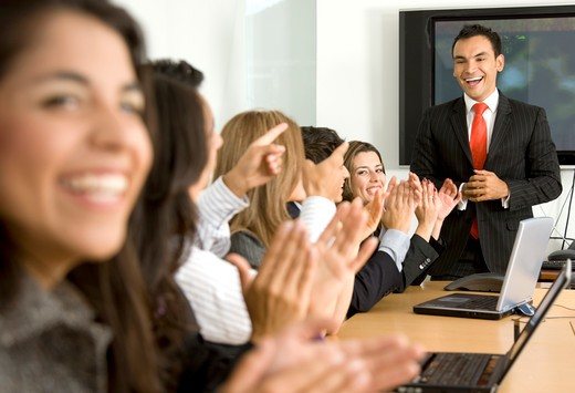 Stock Photo: 4158R-23160 Business presentation or meeting success in an office