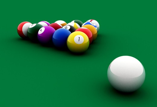 Stock Photo: 4158R-25252 billiards balls on a green table made in 3d