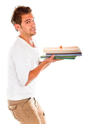Stock Photo: 4158R-3315 Male student carrying books isolated over a white background