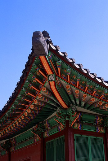 Stock Photo: 4163-10124 KOREA, SEOUL, KYUNGBOK ROYAL PALACE, MANCH-UNJON HALL, DETAIL OF ROOF