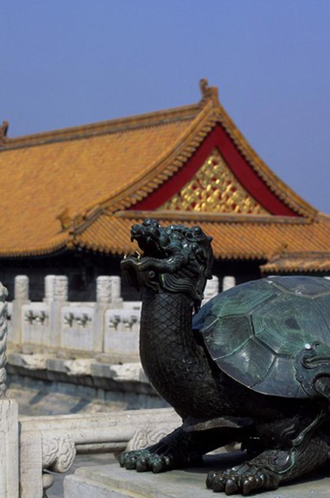 CHINA, BEIJING, FORBIDDEN CITY, BRONZE TORTOISE : Stock Photo
