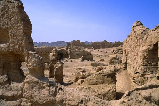 CHINA, XINJIANG PROVINCE, TURFAN, JIAOHE CITY, DESTROYED BY MONGOLS IN 13TH CENTURY : Stock Photo