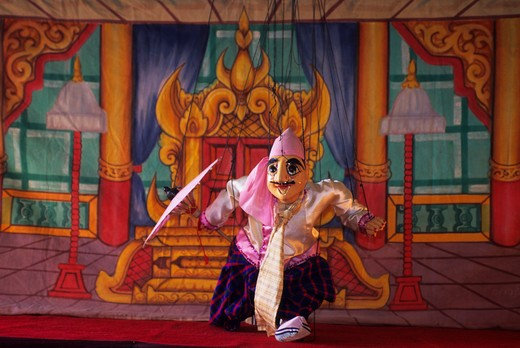 MYANMAR(BURMA), PAGAN, TRADITIONAL BURMESE PUPPET SHOW, PUPPET : Stock Photo
