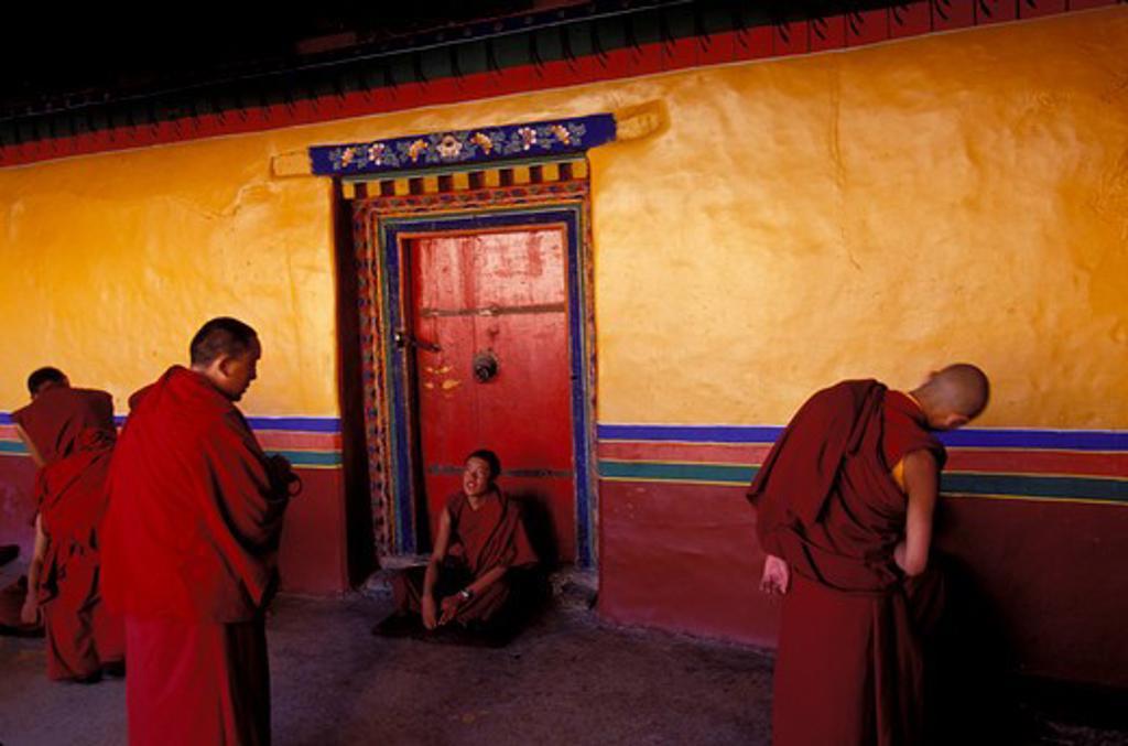 CHINA, TIBET, LHASA, JOKHANG TEMPLE, MONKS DEBATING : Stock Photo