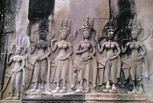 Stock Photo: 4163-11534 CAMBODIA, ANGKOR WAT, GODDESSES, BAS-RELIEF CARVING