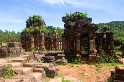 Stock Photo: 4163-12182 VIETNAM, NEAR DA NANG, MY SON, RUINS OF CHAM MONUMENTS, DATING FROM THE 7TH-13TH CENTURIES