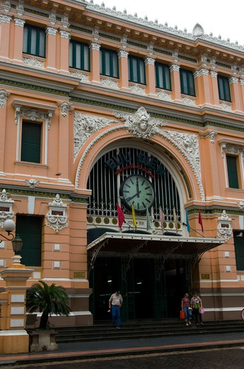 Stock Photo: 4163-12255 VIETNAM, SAIGON (HO CHI MINH CITY), CENTRAL POST OFFICE, FRENCH COLONIAL STYLE