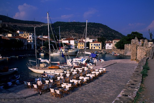 GREECE, NAUPAKTOS, PORT WITH BOATS : Stock Photo
