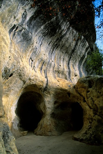FRANCE, DORDOGNE AREA, FONT DE GAUME CAVE ENTRANCE : Stock Photo