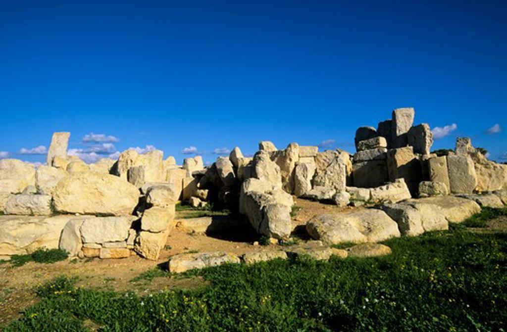 MALTA, HAGAR QIM TEMPLE, 2700 B.C. : Stock Photo