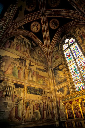 ITALY, FLORENCE, SANTA CROCE CHURCH, INTERIOR, CAPPELLA BARONCELLI : Stock Photo