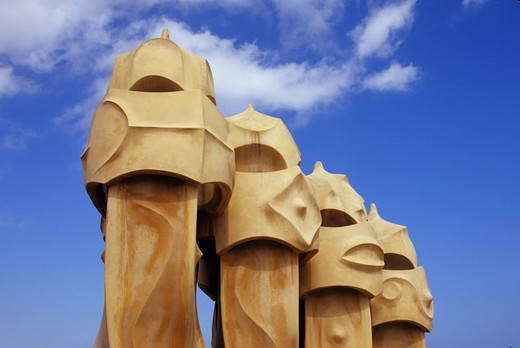 Stock Photo: 4163-14709 SPAIN, BARCELONA, MILA HOUSE, 'LA PEDRERA', ROOF, VENTILATION SHAFTS