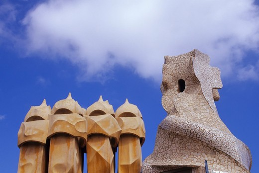 Stock Photo: 4163-14711 SPAIN, BARCELONA, MILA HOUSE, 'LA PEDRERA', ROOF, VENTILATION SHAFTS AND CHIMNEY