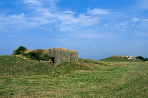 FRANCE, NORMANDY, BATTERIE DE LONGUES, GERMAN FORTIFICATIONS : Stock Photo