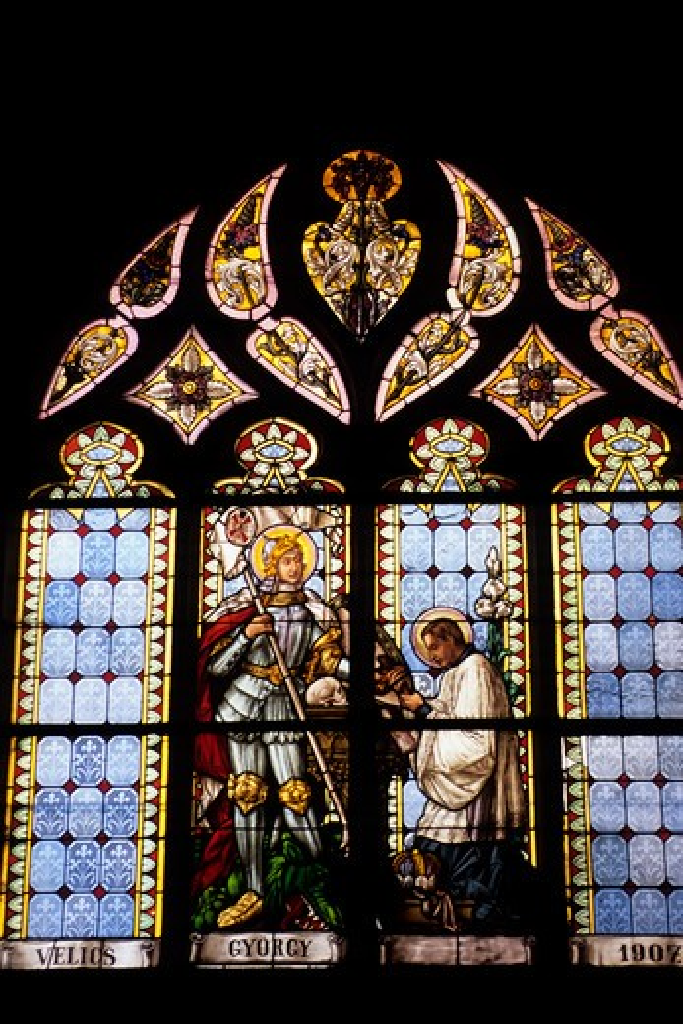 SLOVAKIA, BANSKA STIAVNICA, ST. CATHERINE OF ALEXANDRIA CHURCH, STAIN-GLASS WINDOW : Stock Photo