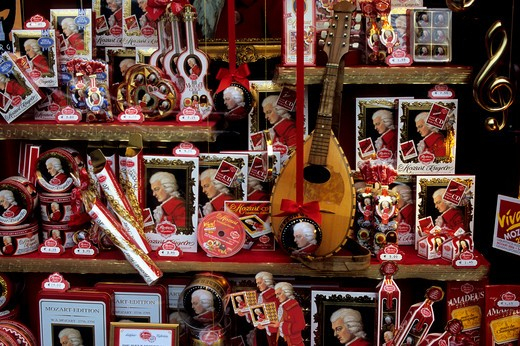 AUSTRIA, SALZBURG, CHOCOLATE STORE, WINDOW DISPLAY OF MOZART KUGELN : Stock Photo