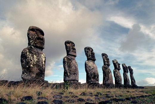 Stock Photo: 4163-16367 EASTER ISLAND, MOAI STATUES AT AHU AKIVI
