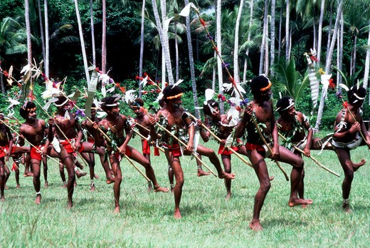 PAPUA NEW GUINEA,TROBRIAND ISLANDS, KIRIWINA ISL., KAIBOLA VILLAGE TRADITIONAL MEN'S DANCES : Stock Photo