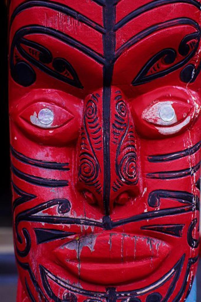 Stock Photo: 4163-16576 NEW ZEALAND, NEAR ROTORUA, MAORI MARAE (COMMUNITY & MEETING HOUSE), CARVED FACE