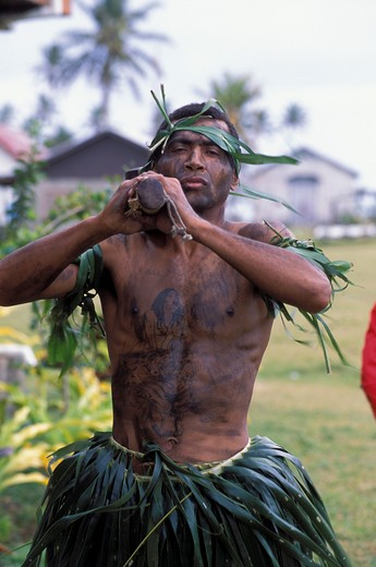 FIJI, KORO ISLAND, WARRIOR WITH BATTLE CLUB : Stock Photo
